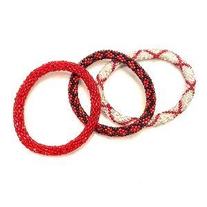 Set of three beaded bracelets